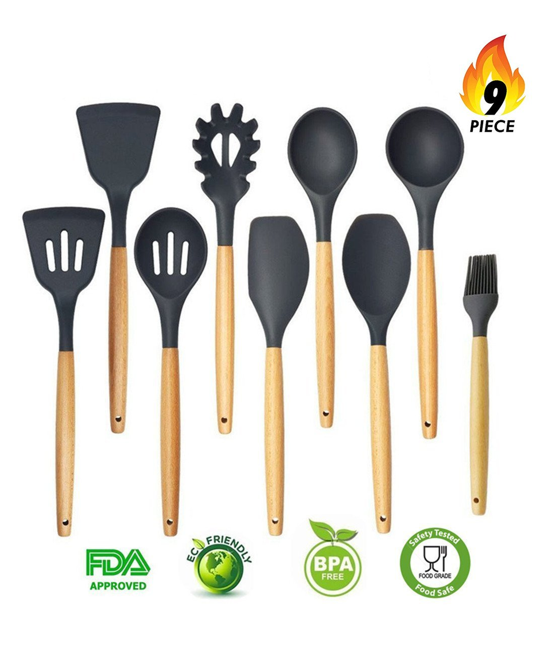 Silicone Kitchen Utensils 9-Piece Cooking Utensils Set with Wood Handles for Nonstick Cookware, Eco-Friendly, BPA Free, Non-StickSilicone Cooking Utensils Set
