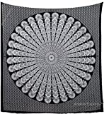 Amitus Exports TM Premium Quality 1 X Round Circle Peacock Mandala 94''x79''(Approx.) Inches Black & White Color Queen Size Cotton Fabric Tapestry Hippy Indian Mandala Throws (Handmade In India)