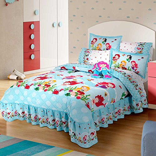 LIMITED EDITION LITTLE MERMAID CUTE GIRLS COLLECTION BEDSPREAD/COMFORTER SET AND SHEET SET 6 PCS TWIN (Little Mermaid Comforter)