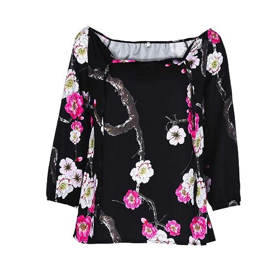 Blusa de Mujer de Moda Manga Larga de Moda para Mujer Blusa de impresión de Hombro