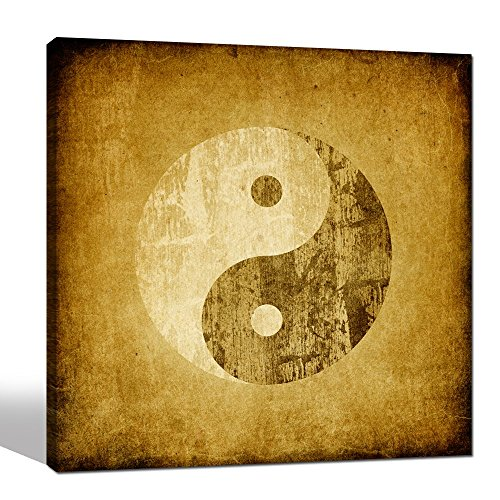 - Sea Charm - Vintage Wall Art,Yin Yang Symbol on Grunge Backgroud,Traditional Chinese Culture Art Prints,Framed Canvas Art for Home Wall Decor