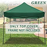 STRONG CAMEL Ez pop Up Canopy Replacement Top instant 10'X10′ gazebo EZ canopy Cover patio pavilion sunshade Polyester (Green) For Sale