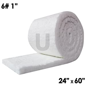 "UniTherm Ceramic Fiber Insulation Blanket Roll, (6# Density, 2300°F)(1""x24""x60"") for Kilns, Ovens, Furnaces, Forges, Stoves and More!"