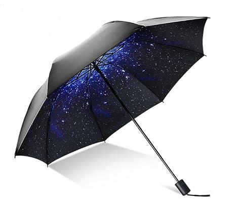 HHD® Paraguas Plegable Automático Portátil, Estrellas Paraguas Automático de Viaje con 9 varillas y