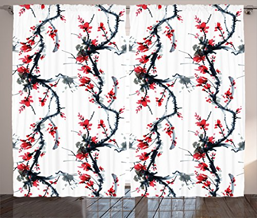 Ambesonne Asian Decor Collection, Flowers Season Classic Water Painting Style Artwork Tradition Oriental Summer Image, Living Room Bedroom Curtain 2 Panels Set, 108 X 90 Inches, Dimgray Red Black (Oriental Asian Fabric)