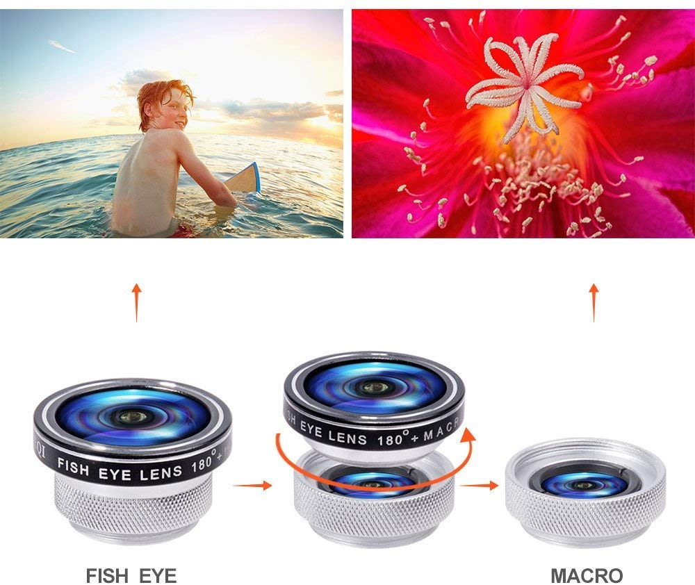 Yarrashop 3 in 1 HD Clip-On Lens Kit for 180 Degree Fisheye Lens 0.4X Wide Angle Lens 10X Macro Lens for iPhone XS Max// XR Samsung Huawei LG and Other Smartphone Silver Cell Phone Camera Lens