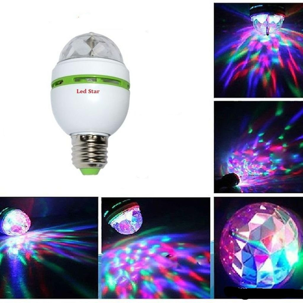 E27 RGB LED Discokugel 3W Rotierend Disco Party Glü hbirne Glü hlampe Lichteffekt amara-global