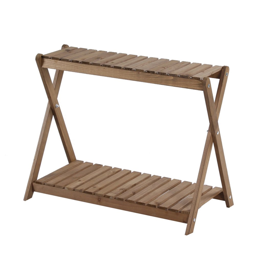 CSQ Two Wooden Shelves, Simple Solid Wood Flower Stand Shelf Multifunction Succulent Plants Decoration Toy Books Bedroom Living Room Balcony Flower Shelf by Flowers and friends (Image #1)