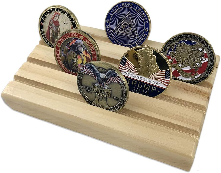 4-Row Challenge Coin Display Stand Rack Silver Finish Solid Wood