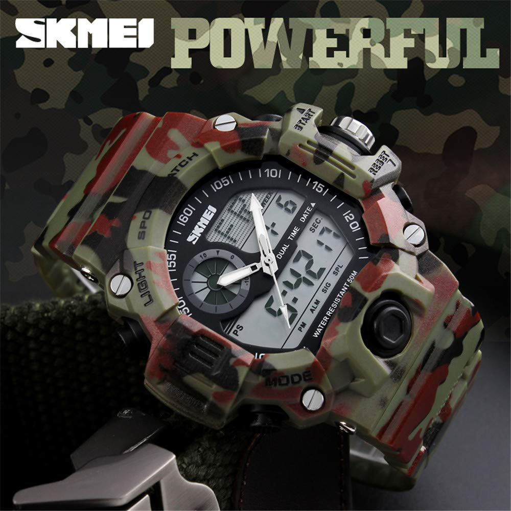 Amazon.com: SKMEI 1029 Japanese-quartz LED And Pointer Display Rubber 50M Waterproof Multi-functional Sports Watch: Watches