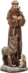 Painted Stone Resin Saint Francis with Animals Sculpture, 8 Inches