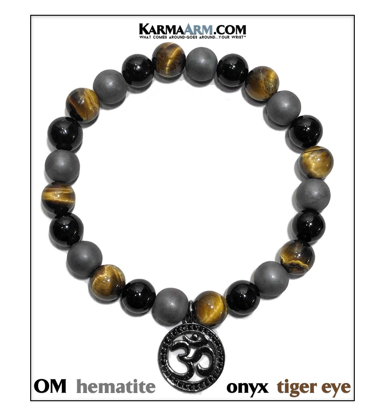 OM Buddhist Bracelet | Transformation | Mantra Meditation Wristband | Reiki Healing Energy Bead Zen Self-Care Charm Yoga Jewelry | Black Onyx | Hematite | Tiger Eye (6.5)