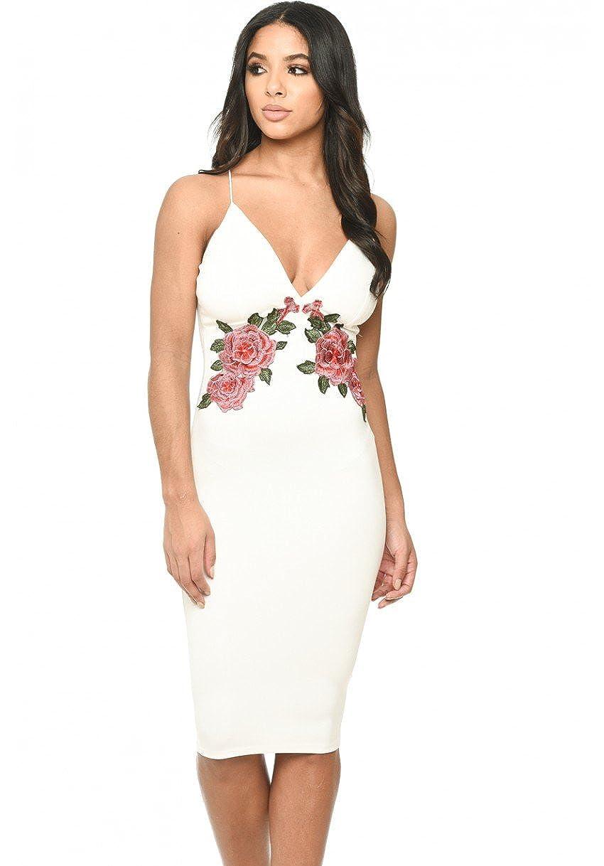 AX Paris Womens Lace Side Bodycon Dress - Blue/White