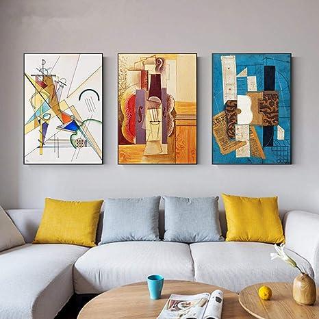 Amazon Com Abstracto Famoso Pintura Grande Picasso Póster Impresión Colorido Arte De La Pared Para Salón Salón Decoración Del Hogar Obras De Arte 50x75cmx3pcs Sin Marco Home Kitchen