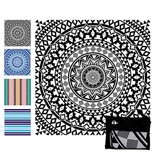 (Elite Trend Microfiber Beach Towel for Travel:Oversized Super XL 63 x 63 Inch Quick Drying, Lightweight, Fast Dry Shower & Body Towels, Sand Free, Perfect (Black Beauty, Super)