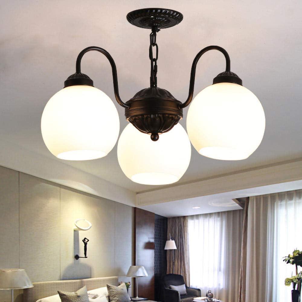 Lámpara de techo de la sala de estar de hierro americano, dormitorio, comedor, lámpara de techo, atmósfera simple, lámpara LED, succión, colgante, doble propósito, succión de 3 cabezales, tipo de dobl: Amazon.es:
