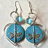 Dragonfly Earrings Light Blue Coconut Shells Wire Wrapped Insect Jewelry