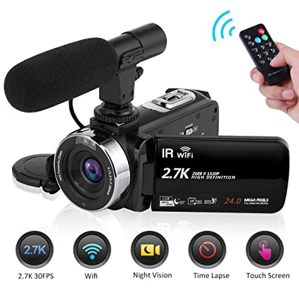 Seree Camcorder Video Camera 2 7K 30FPS WiFi Vlogging Camera Night Vision  Digital Camera with Microphone Vlog Blogging Video Camera for YouTube
