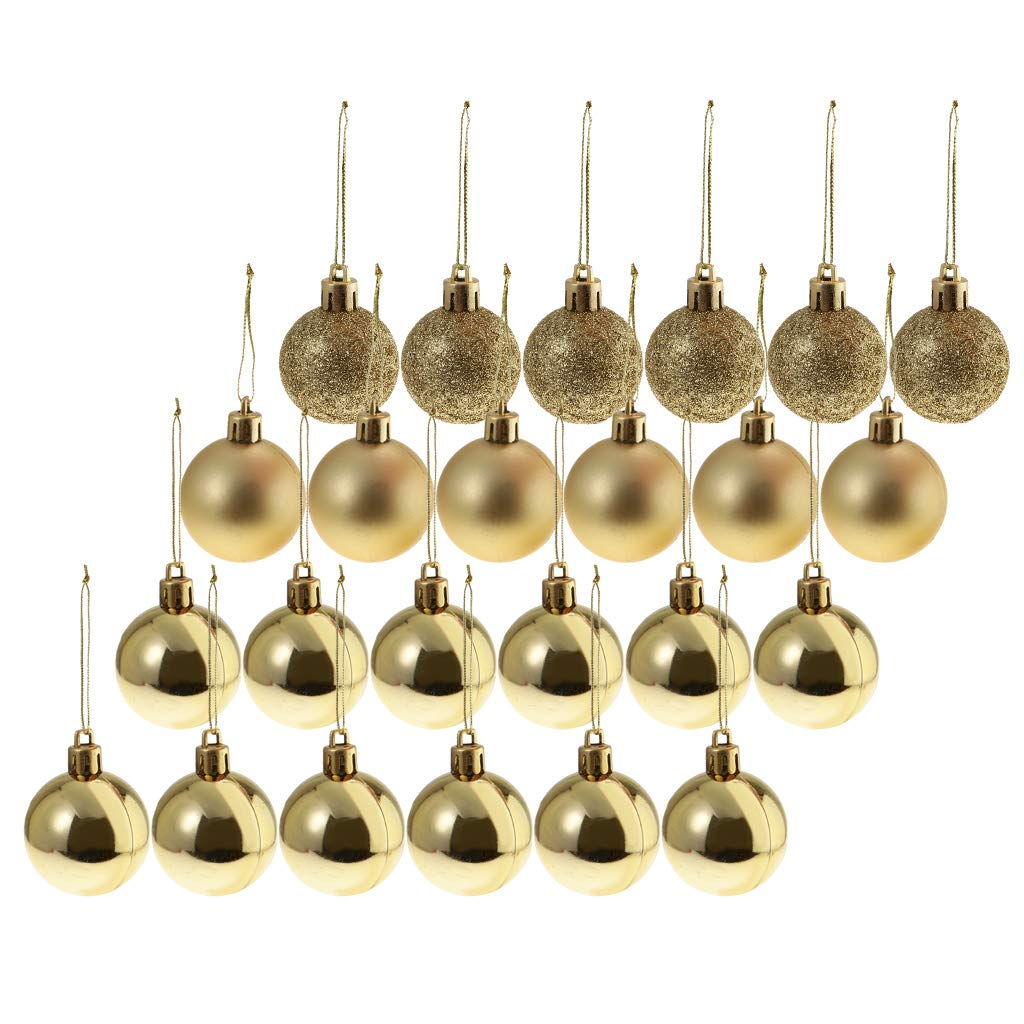 Gold SM SunniMix 24 Pack Christmas Balls Ornaments for Xmas Tree Baubles Shatterproof Christmas Tree Decorations 8cm