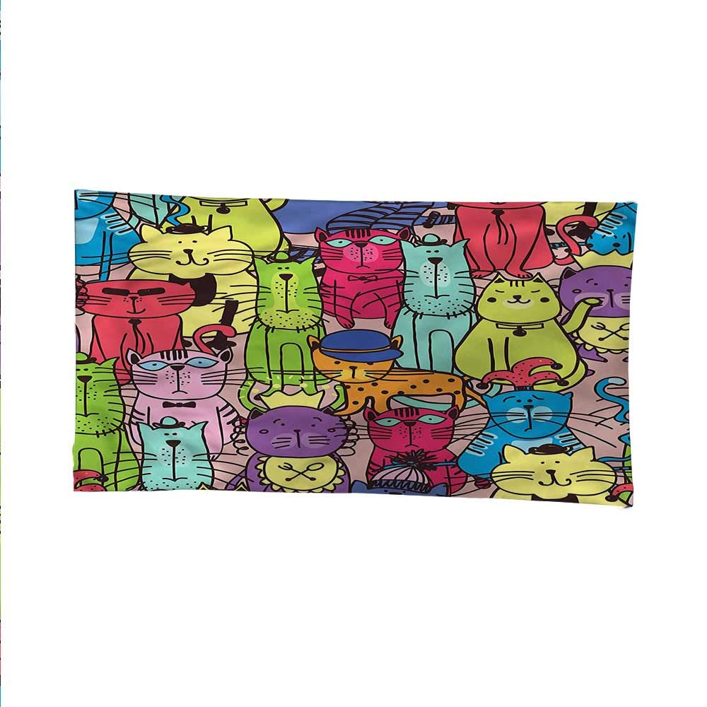 Cartoontapestrywall tapestryColored Cats with Hats 84W x 54L Inch