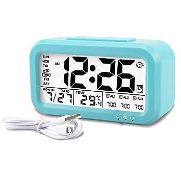 Aitey Kids Alarm Clock, Digital Alarm Clock for Kids, Time/Temperature Display, Snooze Function, 3 Alarms, Optional Weekday Mode, USB Charging (Blue)