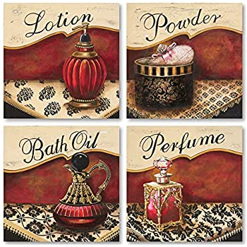 Vintage Red and Gold Perfume Bath Oil Lotion Powder Set; 4-12x12