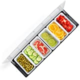 Bar Top Food & Condiment Dispenser - 6 Tray Plastic Garnish Station with Lid for Bartending & Serving Taco, Ice Cream, Fruit, Salad Bar - Topping Organizer for Restaurant Supplies & Accessories