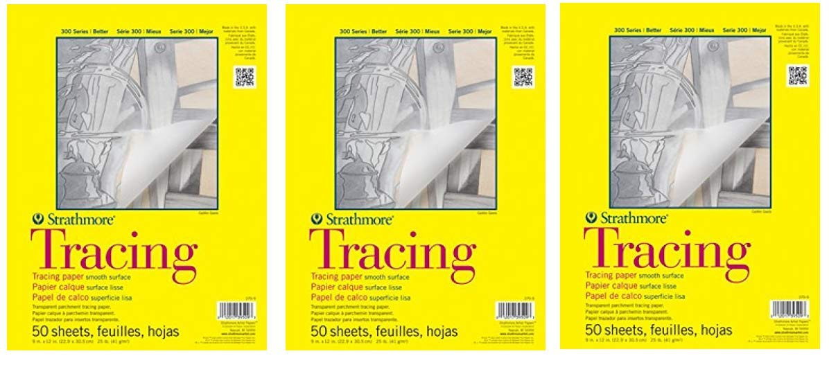 Strathmore 370-9 300 Series Tracing Pad, 9''x12'' Tape Bound, 50 Sheets (Thrее Рack, White)