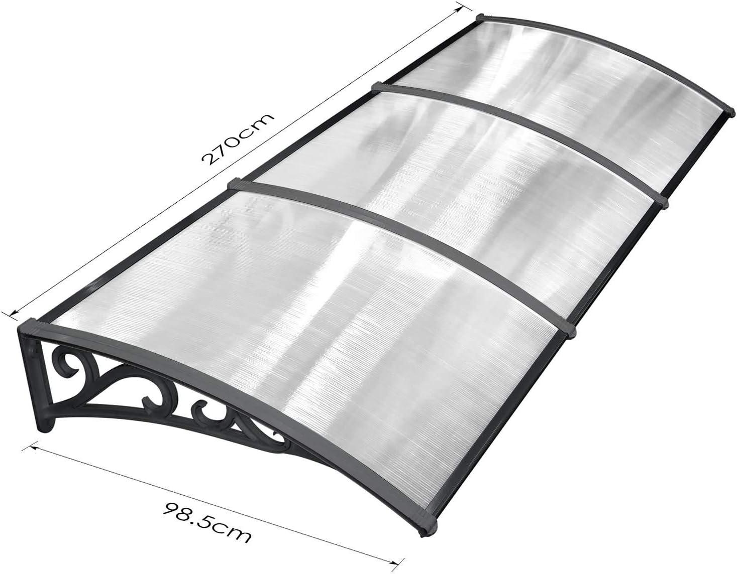 Color : Clear, Size : 60x60cm NEVY-Auvent de Porte Et Fen/êtres Store Marquise Solaire Porche Abri Dombre Feuille De Polycarbonate avec Support en Aluminium Profondeur 60//80//100//120 Cm