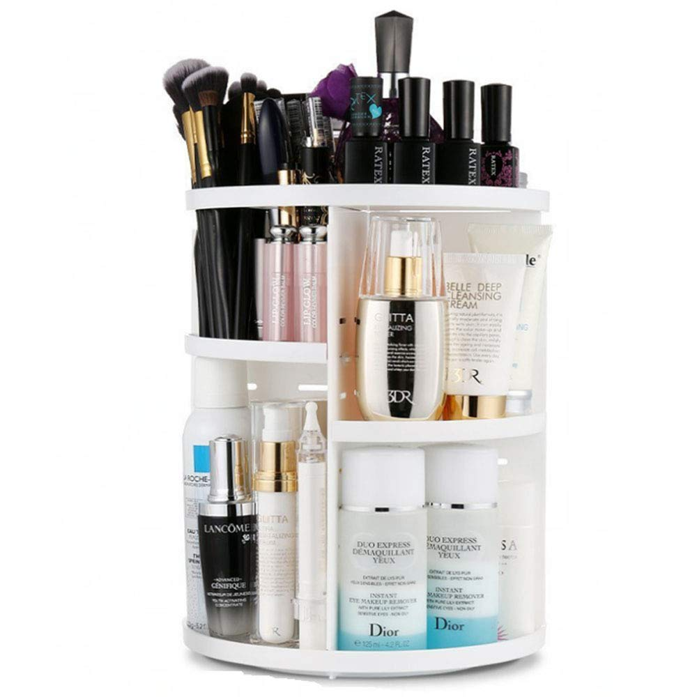AI U 360 Rotating Makeup Organizer,DIY Adjustable Cosmetic Stand Box,Multi-Function Acrylic with 7 Layers Great Capacity Make Up Storage for Bedroom, Bathroom White