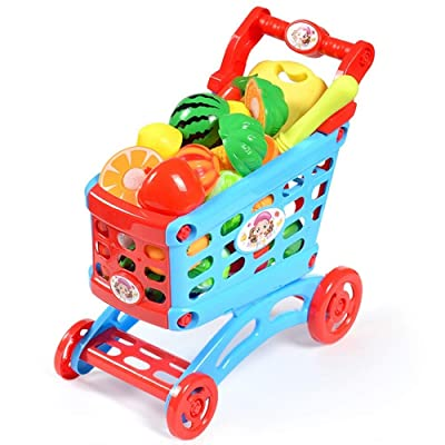 Deerbb Shopping Cart with Wheels for Doll Kids Toddler, Baby Kitchen Cart Pretend Play: Toys & Games