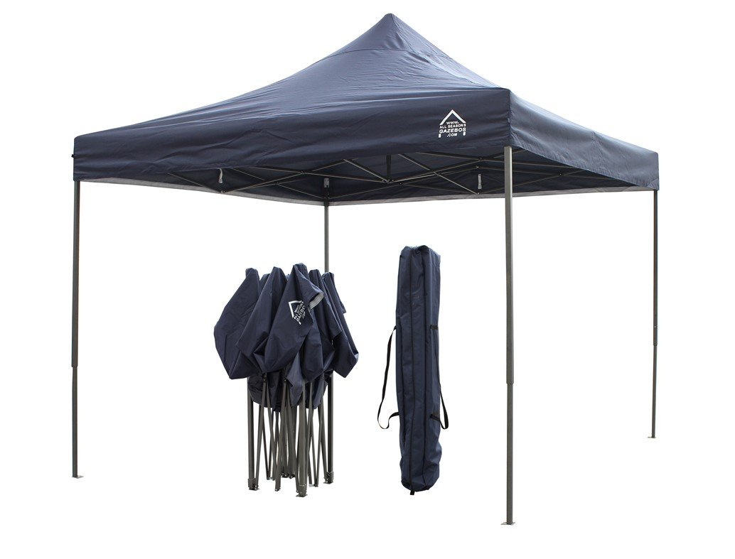 AllSeasonsGazebos 3x3m Heavy Duty, Fully Waterproof, PVC Coated, Premium Pop up Gazebo, Comes with Carry Bag With Wheels and 4 x Leg Weight Bags (Navy Blue) All Seasons Gazebos