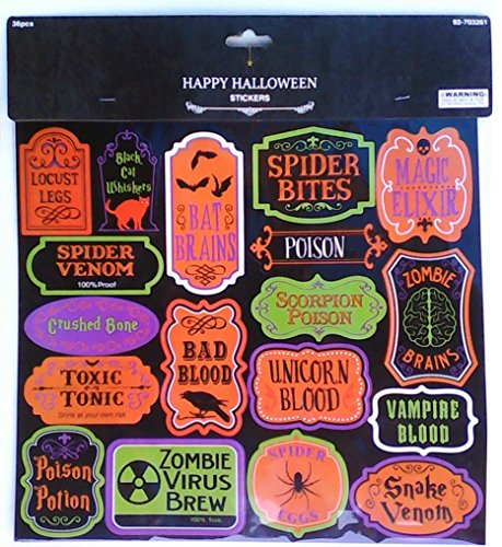 36 Halloween Beverage and Container Labels for Halloween Party - Unicorn Blood - Zombie Brains - Snake Venom - Broomstick (Zombie Snake)