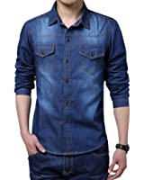Eshion Men Cool Casual Long Sleeve Turn-down Collar Jean Shirt Thin Coat