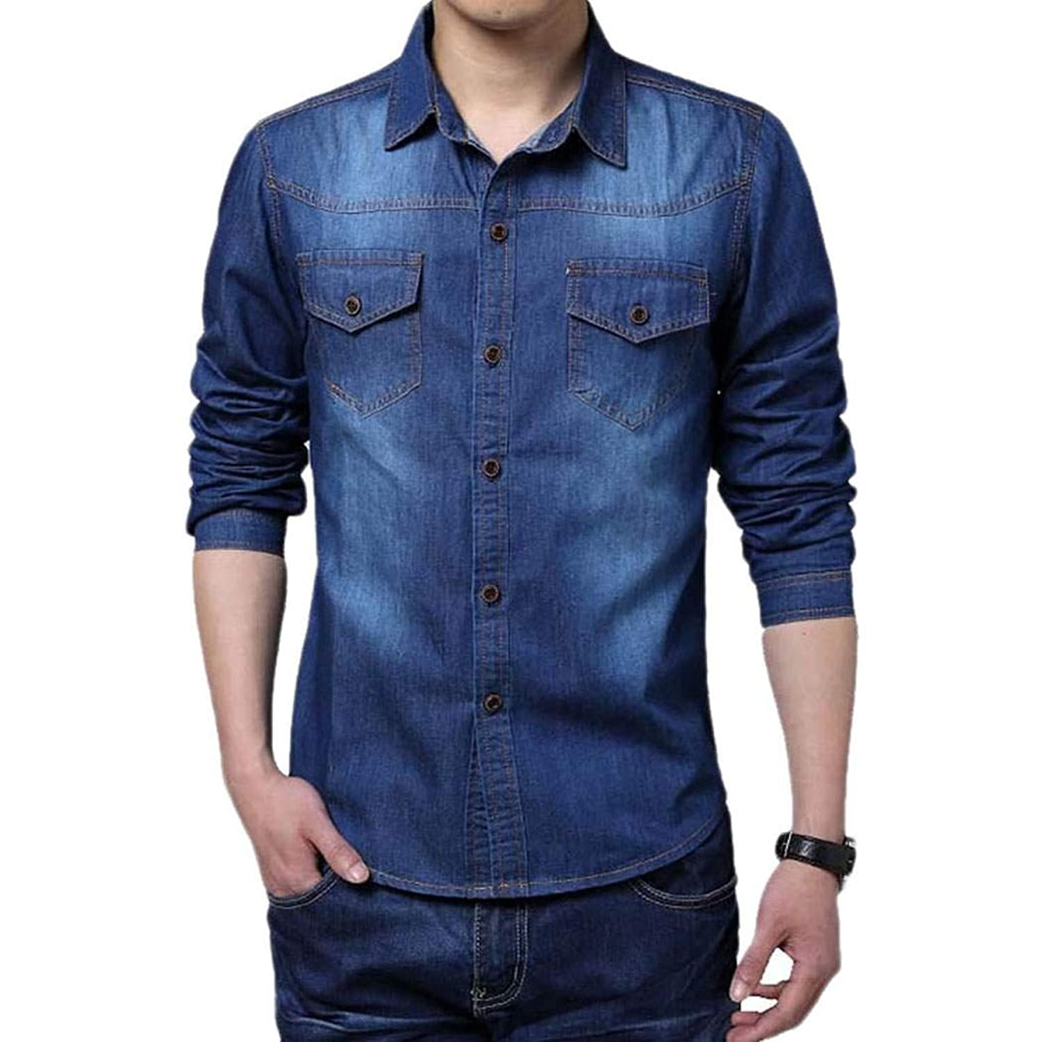 Eshion Men Cool Casual Long Sleeve Turn-down Collar Jean Shirt ...