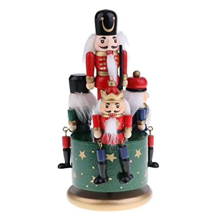 dovewill 20cm vintage wind up wooden nutcracker soldier music box toy home party christmas decoration desktop