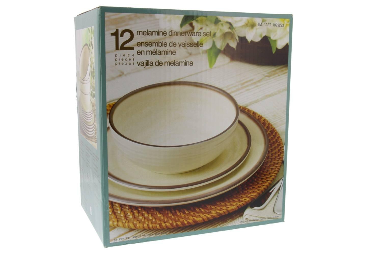 Melamina vajilla 12 piezas - Crema: Amazon.es: Hogar