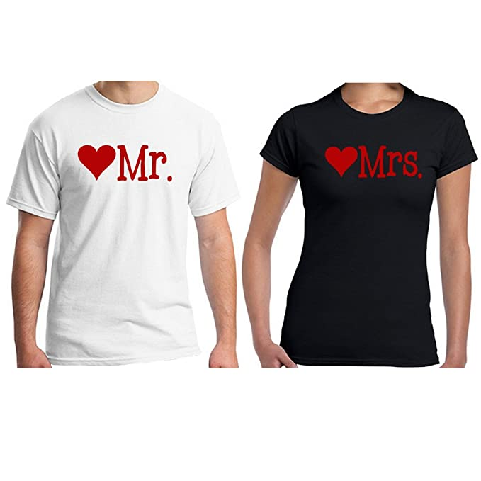 836739a31c Baranovo Custom Mr And Mrs Red Heart Cotton Matching Couples T Shirts Man  White Woman Black