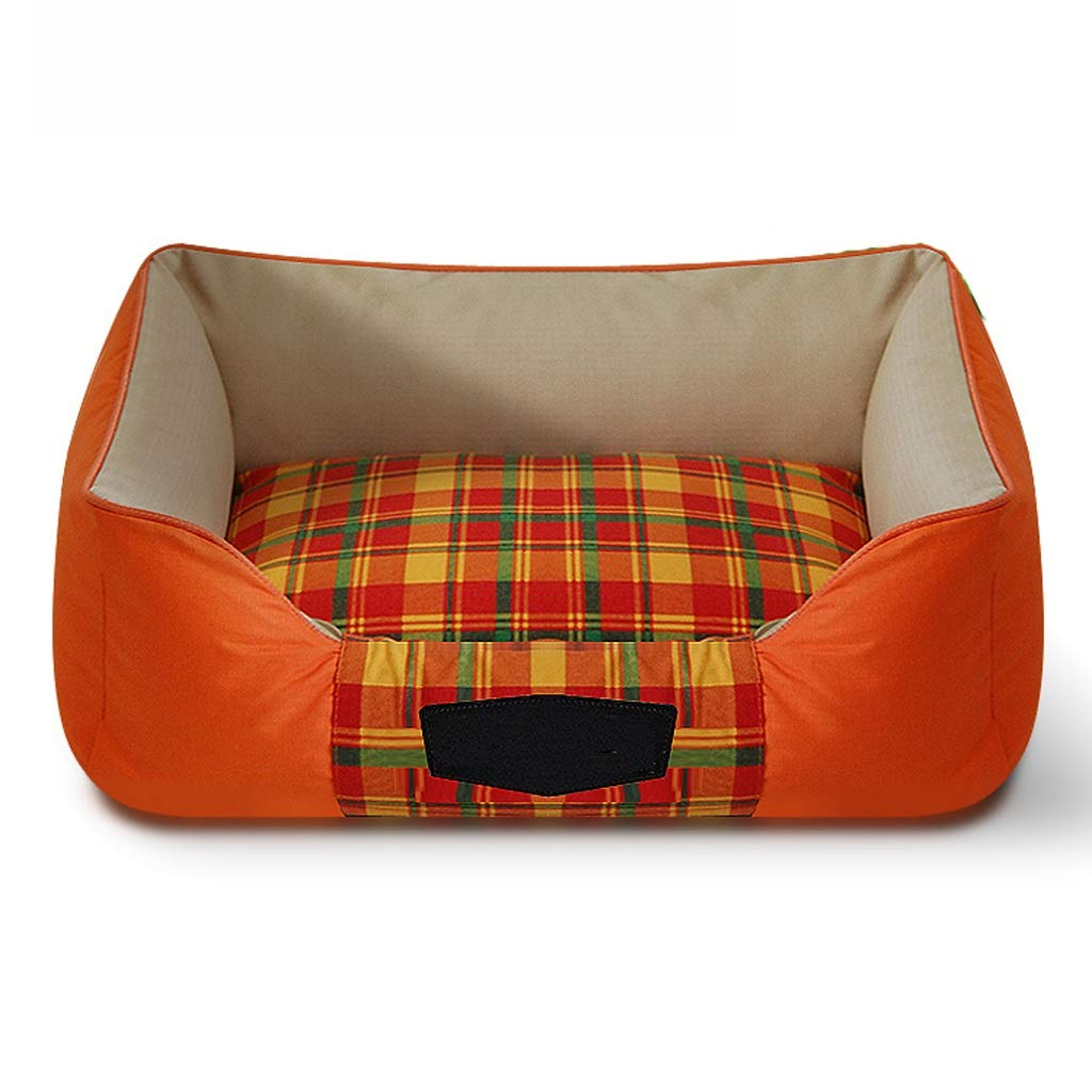 orange X-Large orange X-Large YSNUK Pet bed Cotton Canvas Kennel Oxford Cloth Waterproof Moisture-proof Pet Basket Can Be Fully Removed And Washable Dust-proof Pet Bed Comfortable, luxurious, warm (color   orange, Size   XL)
