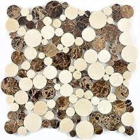 Mosaico de baldosas de mármol natural beige marrón