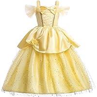 JiaDuo Girls Princess Belle Costume Party Layered Fancy Dress up