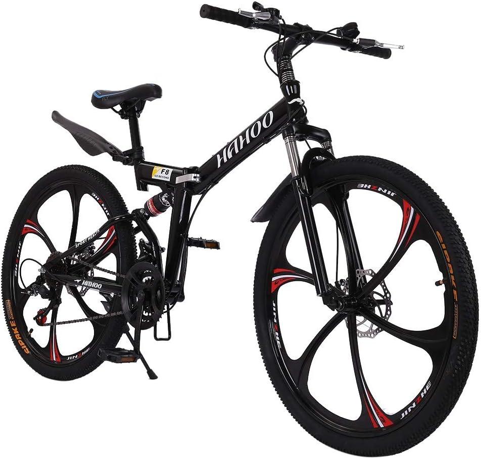 Shipping】 with Disc Brake Shimanos 21 Speed Bicycle Full Suspension MTB Bikes for Men or Women Foldable Frame Jiqitu 26 inch Mountain Bike Folding Bikes 【U.S