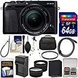 Fujifilm X-E3 4K Digital Camera & 18-55mm XF Lens (Black) with 64GB Card + Case + Battery & Charger + Tripod + Filter + Tele/Wide Lens Kit