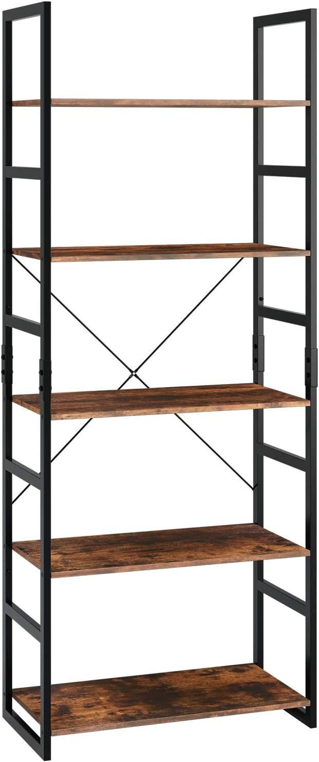Homfa Ladder Shelf 5-Tier Bookshelf Storage Rack Display Shelving Unit Plant Stand with Metal Frame 60x30x158cm