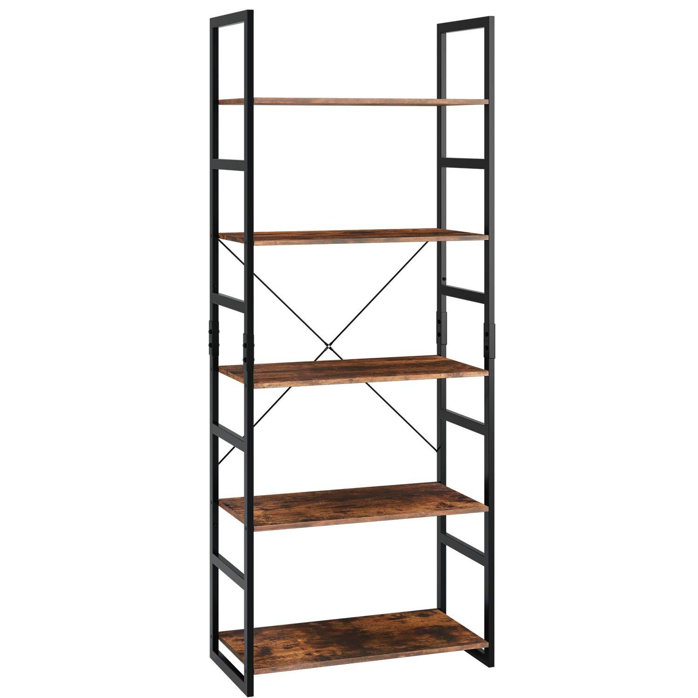 Homfa Ladder Shelf 5-Tier Bookshelf Storage Rack Display Shelving Unit Plant Stand with Metal Frame 60x30x158cm