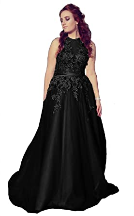 df138b006e6 Fanciest Women s Halter Prom Dresses Long 2019 Appliques Backless Evening Formal  Dress Black US2