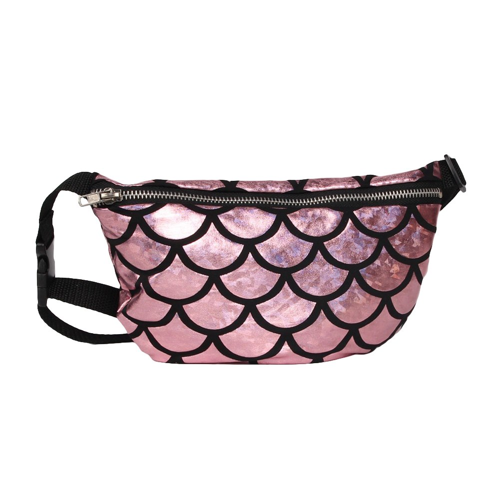 AAA226 Shiny Fish Scale Waist Bag Fanny Pack Women Makeup
