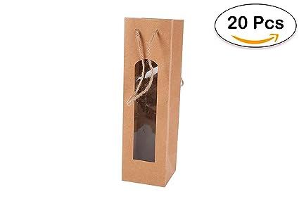 Lote de 20 Bolsas para Botella Vino Kraft con Ventana - Bolsas para Vino Baratas, Originales, Bonitas de Papel, Cartón, Marrones, Kraft. Originales ...