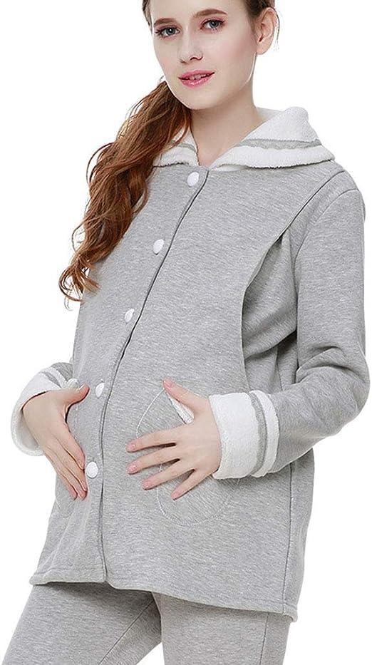 Pijamas Pijamas Dama Embarazada de Algodón Ropa de Dormir Gris Embarazo Traje de Invierno Ropa de