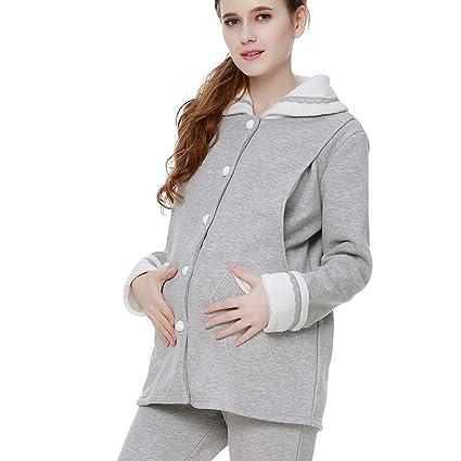 d7b7c712a24bc Sleepwear Pajamas Pregnant Lady Cotton Nightwear Gray Pregnancy Nightgown  Suit Winter Breastfeeding Clothes Pregnant Women Gift